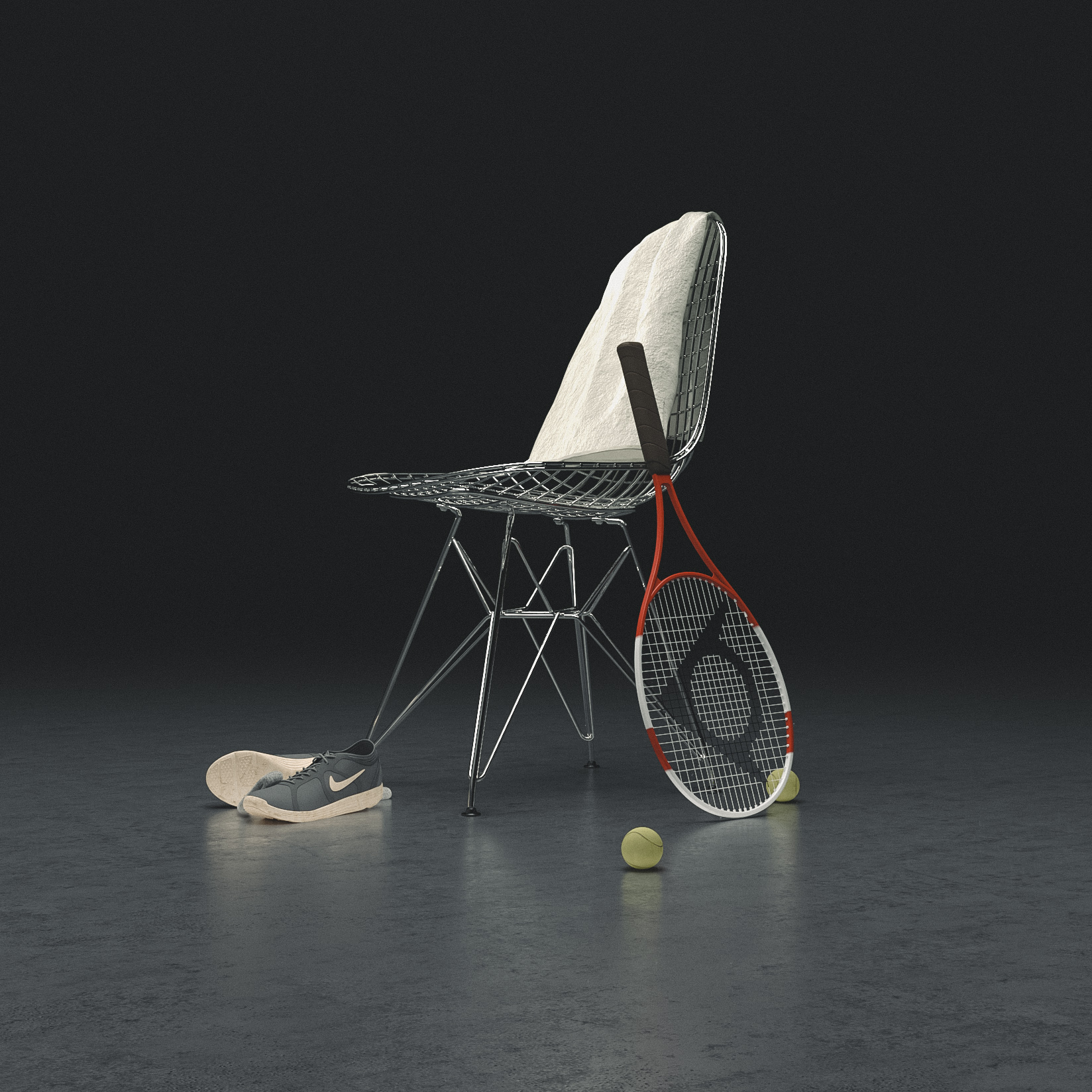 product illustration 3d eames wire chair
